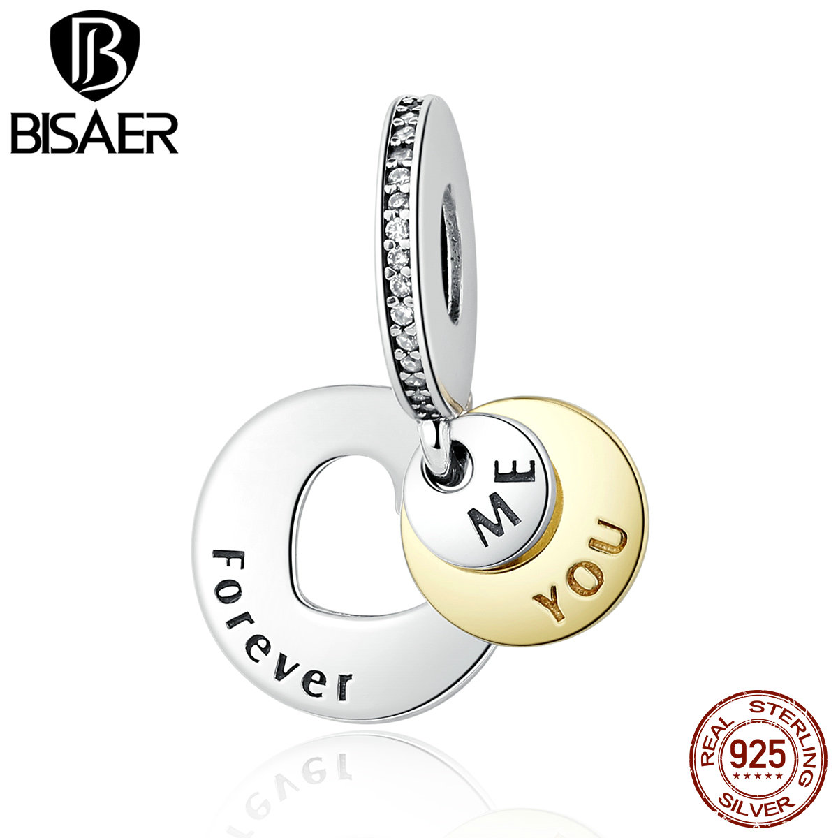 Romantic Gift 925 Sterling Silver You & Me Forever, Clear CZ Round Pendant Charms Fit BISAER Bracelet DIY Jewelry EDC017