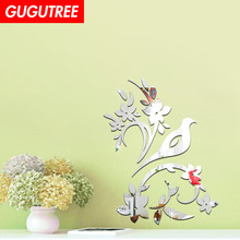 Decorate 3D flower leaf art wall mirror sticker decoration Decals mural painting Removable Decor Wallpaper LF-1376