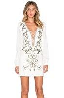 R & h белый Вышивка Глубокий V Средства ухода за кожей Шеи Сексуальное Платье Для женщин ночь Мини Платья для вечеринок с длинным рукавом Весн