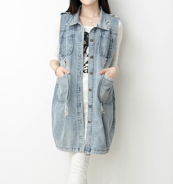Осень 2016 новая мода плюс размер S-5XL Винтаж Отверстие джинсовой улица одежда для женщин женщина долго Верхняя Одежда куртка 093D 45