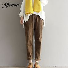 Womens Corduroy Pencil Harem Pants High Waist Vintage Solid Long Trousers For Women 2019 Spring Autumn Ladies Bottoms Plus Size