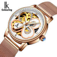 IK Female White Rose Gold Automatic butte  Mechanical Watches Women Genuine stainless steel Strap Skeleton Watch Fashion Ladies