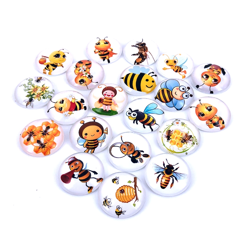 40pcs/lot 10mm 12mm 14mm 16mm Round Wasp Bee Pattern Glass Cabochon For DIY Jewelry Making Findings & Components T029