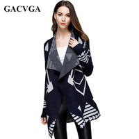 2017 Autumn And Winter Medium Long Knitted Sweaters Women Cardigan Geometric Print Irregular Turn Down Collar