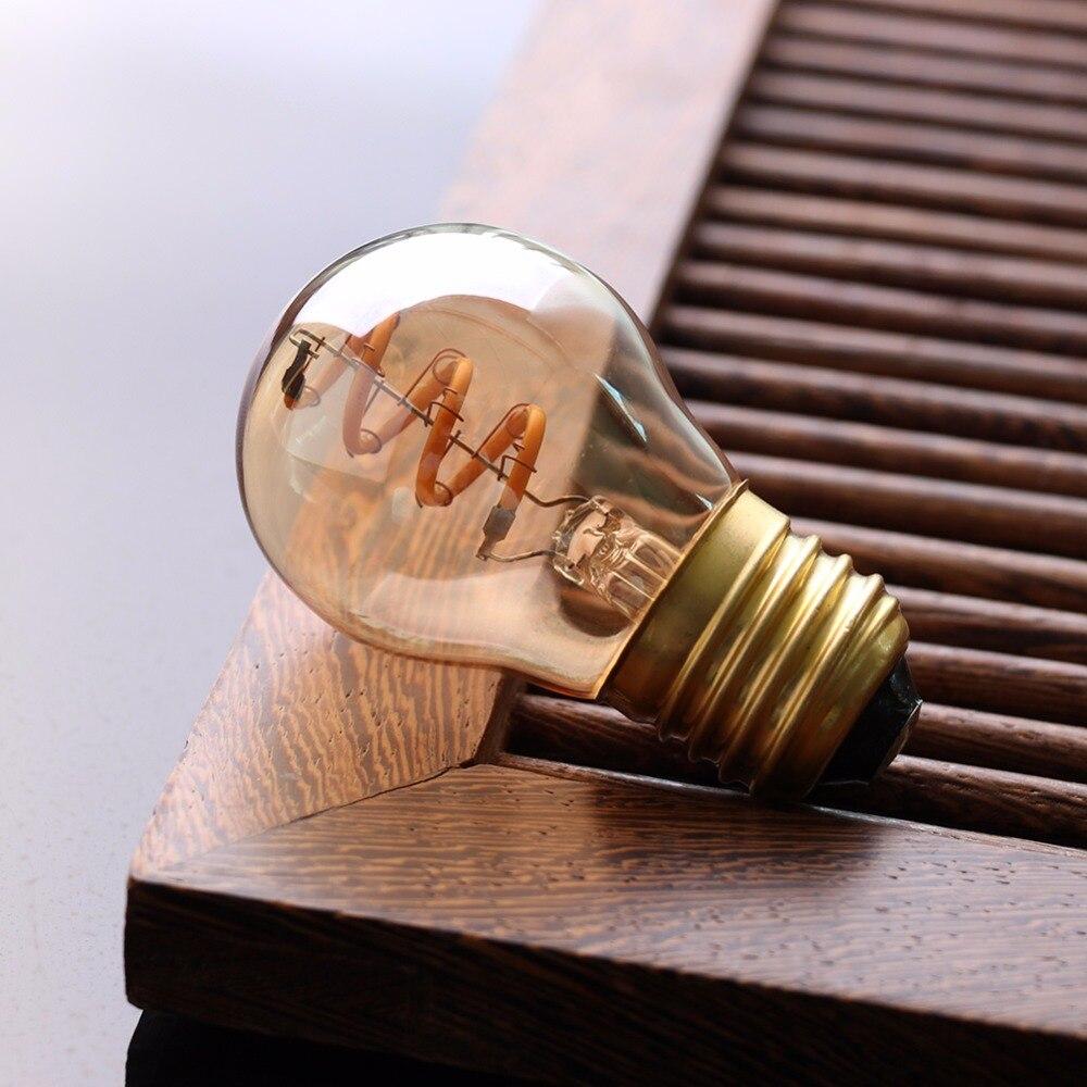 Grensk Led E27 ガラススパイラル G45 グローブフィラメント電球アンティークエジソン電球 3 ワットアンバー電球調光対応ランプ 2200 18K E26 Led  グループ上の ライト & 照明 からの LED バルブ & チューブ の中 3
