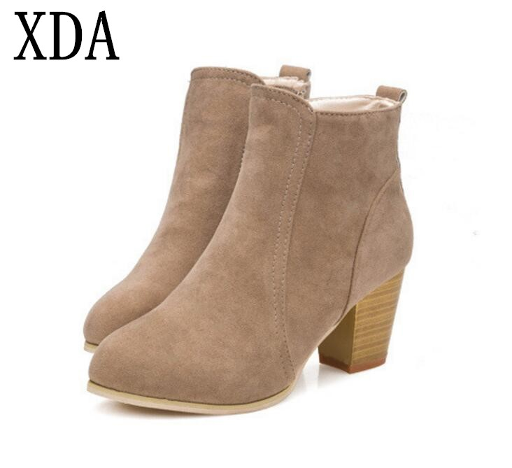 20f8c936d154a XDA 2018 NEW Autumn winter short cylinder boots high heel boots shoes  Martin boots women with thick scrub zipper ankle boots