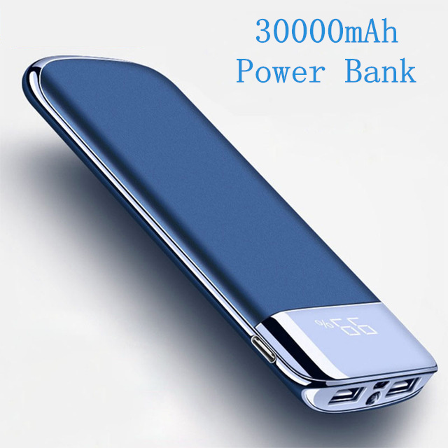 For Xiaomi MI Note 8 iphone X Power Bank 30000mah External Battery PoverBank 2 USB LED Powerbank Portable Mobile phone Charger