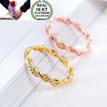 OMHXZJ Wholesale Personality Fashion OL Woman Girl Party Wedding Gift Twisted AAA Zircon 18KT Yellow Gold Rose Gold Ring RN30 цена и фото