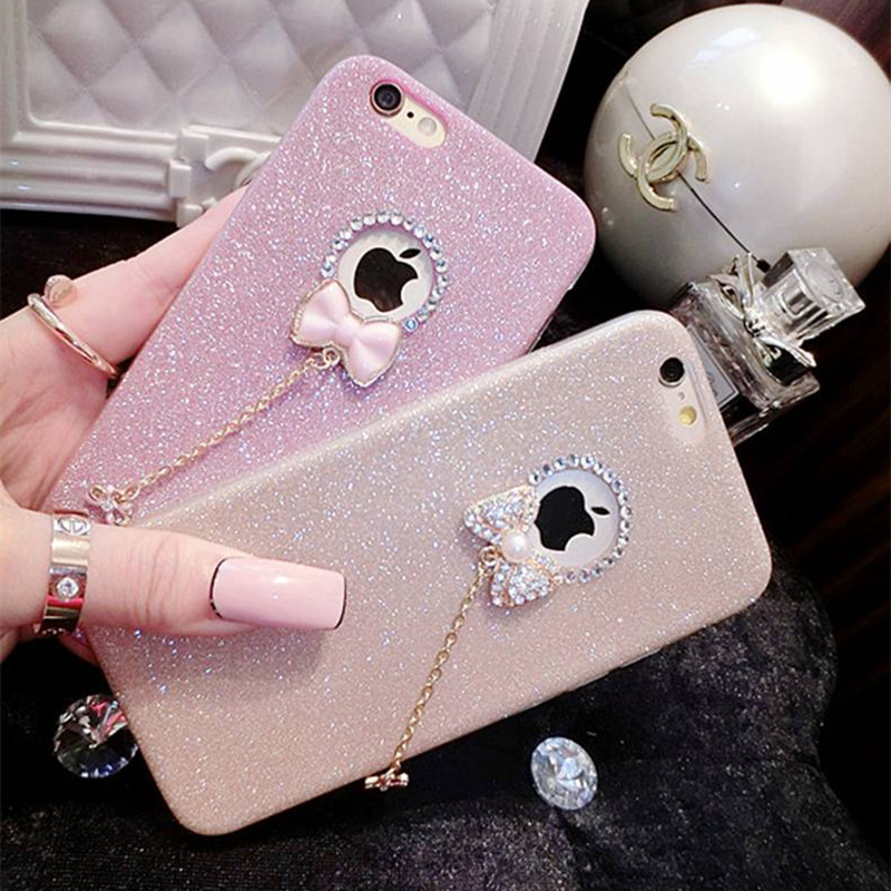 Mobile Phone Bags for iPhone 6 iPhone6S iphone 5S 5 s SE 5SE 6Plus 6SPlus 7 8 X Case glitter pink Coque Luxury capinha
