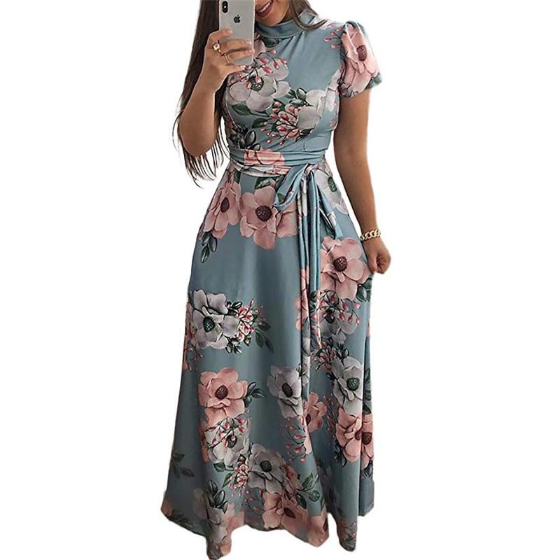 Women Long Maxi Dress Summer Floral Print Boho Style Beach Dress Casual Short Sleeve Bandage Party Dress Vestidos Plus Size