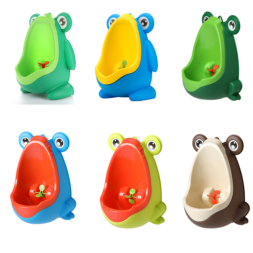 Training Boys Bathroom Frog Urinal Baby Boy Toilet Training Children Stand Vertical Urinal Wall-Mounted Hook Frog Potty Toilet