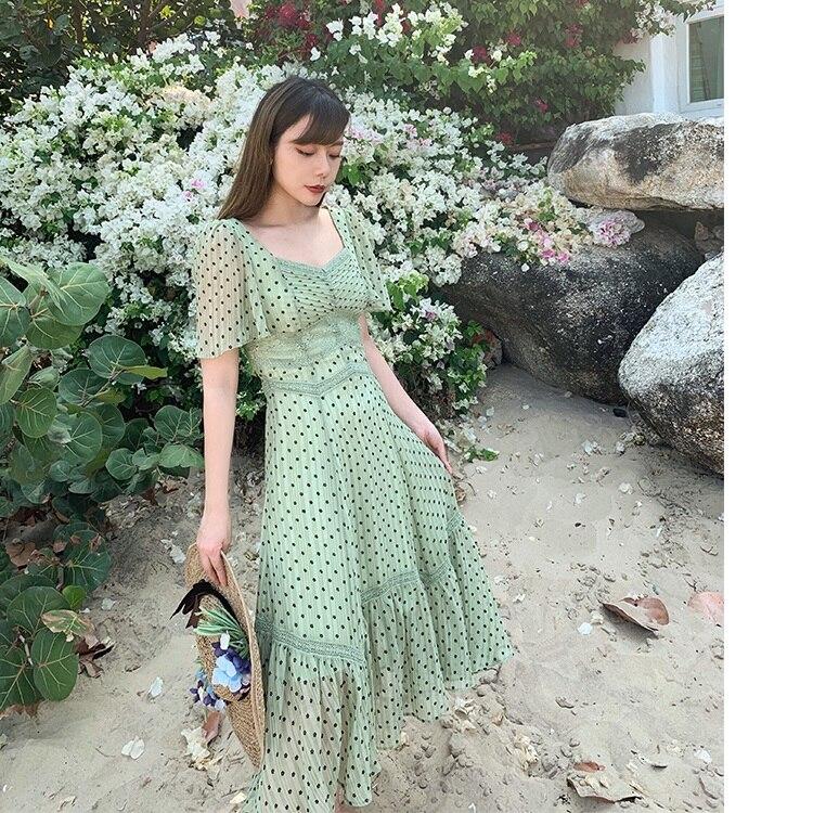 LYNETTE'S CHINOISERIE printemps été romantique Sicilia Style vacances français Vintage à pois mousseline de soie robes vertes