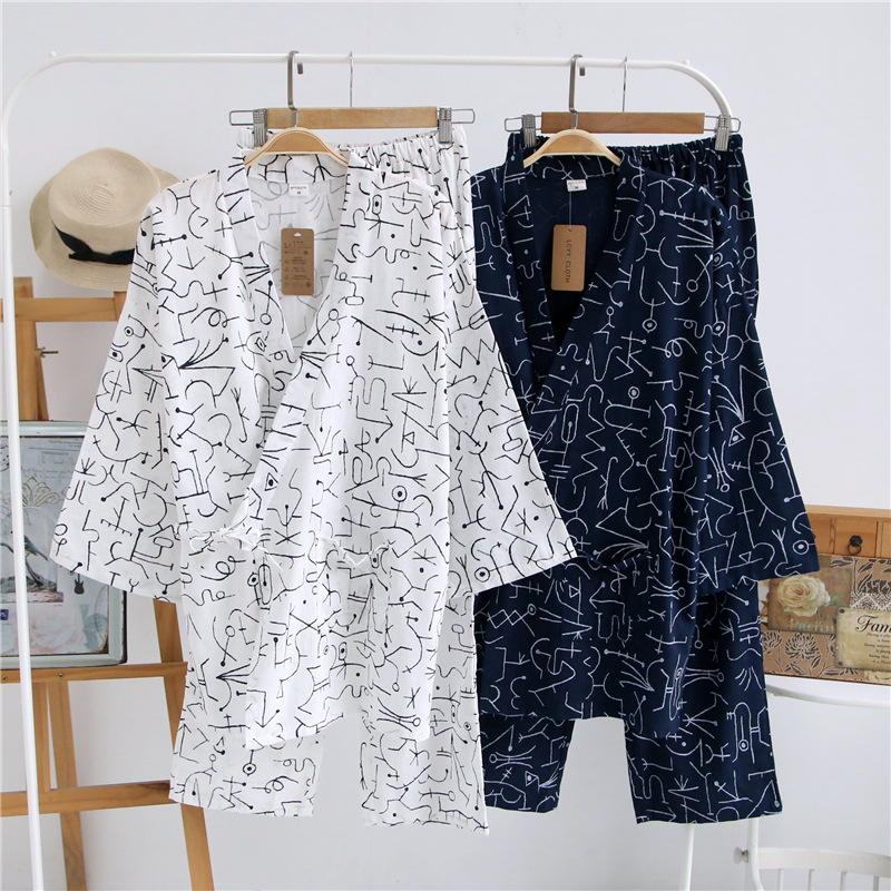 Summer Spring Men's Kimono Sleep Pajama Sets Woven 100% Cotton Nightly Pijama Bathrobe Simple Comfortable Maple Leaf Home Suit