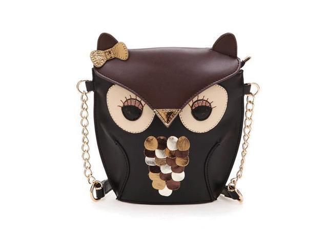 Novas mulheres da moda couro bolsa de desenhos animados da coruja ombro raposa sacos mulheres mensageiro saco
