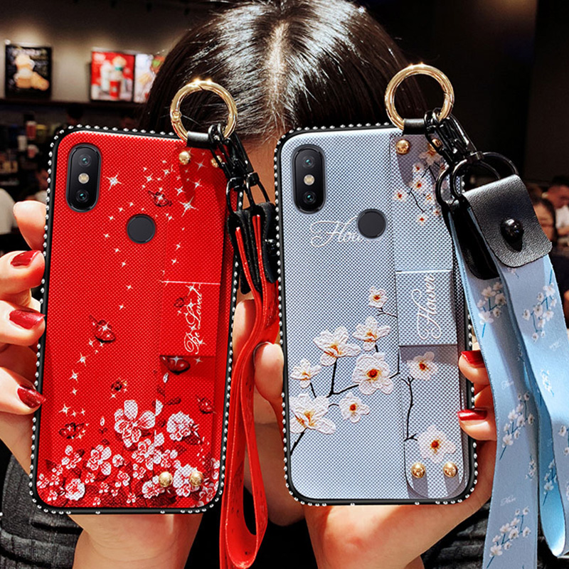 Handgelenk Strap Fall Für <font><b>Xiaomi</b></font> <font><b>Redmi</b></font> A1 A2 MAX2 <font><b>3</b></font> 8 8SE 9 9SE Hinweis <font><b>3</b></font> 4 4X5 5A 6 6A 7 Plus Pro Lite Vintage Blume CoverWithLanyard image