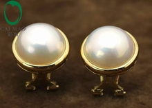 14k Yellow Gold Round Mabe Pearl Classic Engagement Earring Free shipping For Party