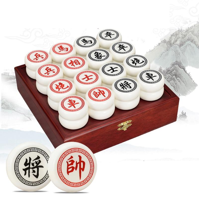 BSTFAMLY chinois échecs boîte en bois 32 pièces/ensemble vieux jeu de Go Xiang Qi International dames pliant jouet cadeaux pas magnétique LC13