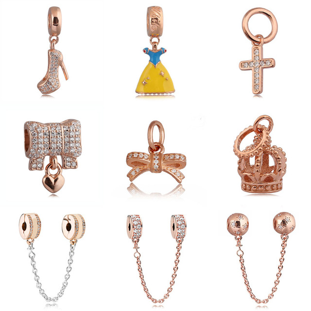 20ab45eb1c8ab Rose Gold Pave Shining Elegance Pan Insignia Crystal Safety Chain Beads Fit  Pandora Bracelet 925 Sterling Silver Charm Jewelry-in Charms from Jewelry  ...