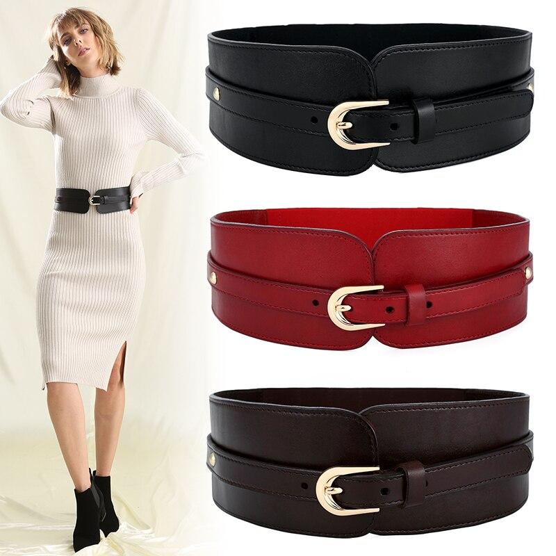 Nouveau femmes marque large réglable mince corps corset ceinture noir première couche peau de vache en cuir design rétro confortable ceintures élastiques