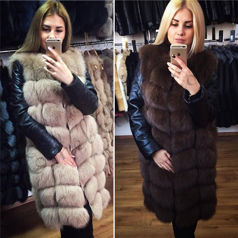Ethel Aderson 90CM Long Genuine Natural Fox Fur Coat Real Whole Skin Fox Winter Fur Vest For Women Thick Gilet Female Overcoat