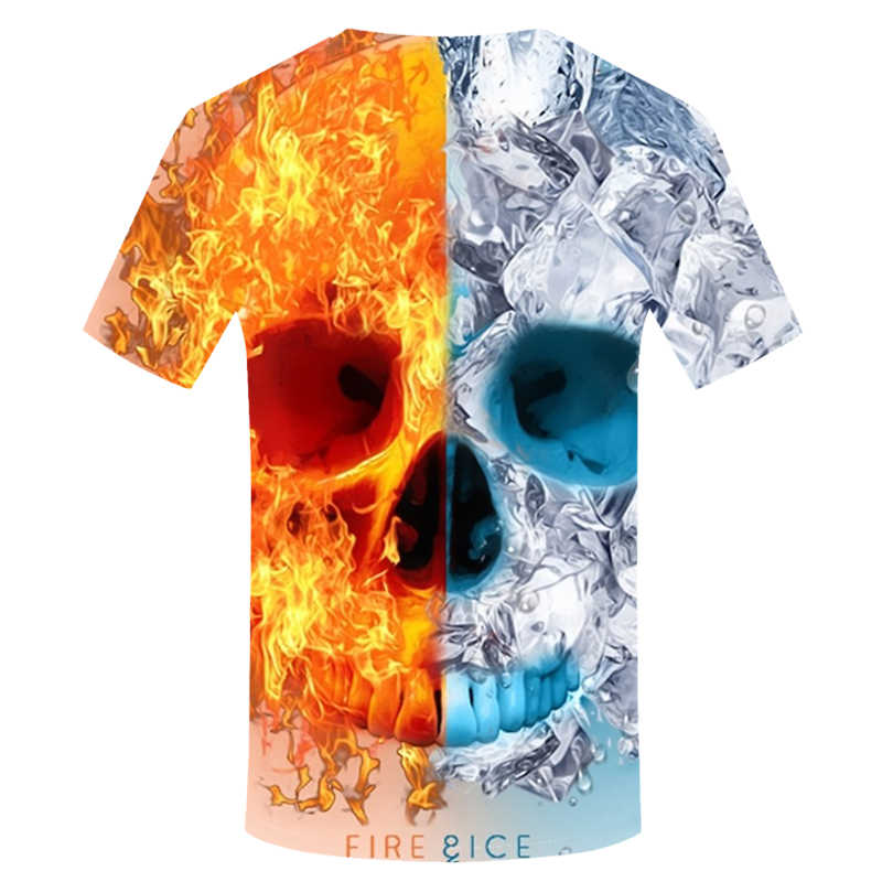 Nieuwe zomer Mannen schedel 3D print punk t-shirt Hip Hop mode t-shirt kleur Tops Tees ice & fire Shantou t-shirt 2019