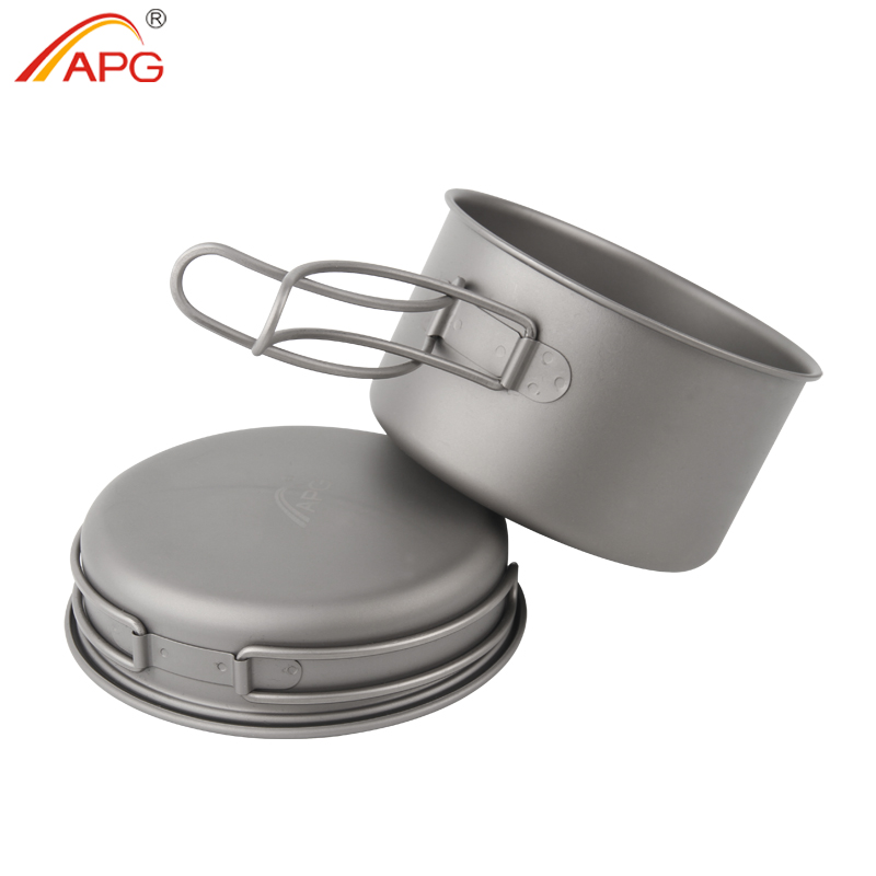 APG Ultralight Titanium Pan Outdoor Camping Titanium Bowl Set Folding Handle Cookware keith pure titanium double wall water mugs with folding handles drinkware outdoor camping cups ultralight travel mug 450ml 600ml
