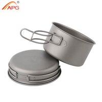 APG Ultralight Titanium Pan Outdoor Camping Titanium Bowl Set Folding Handle Cookware