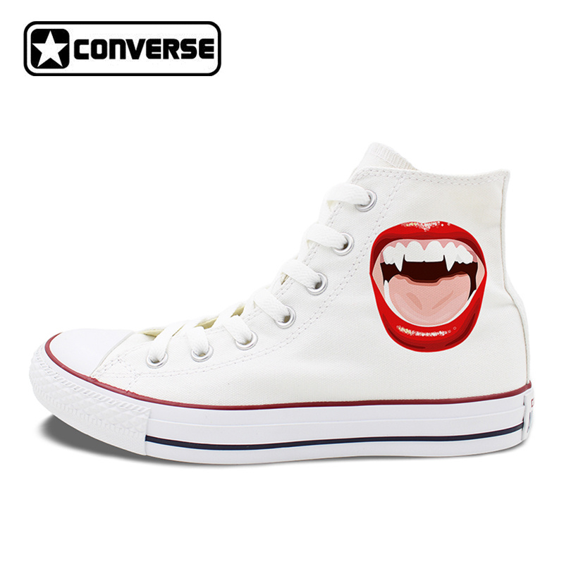 Original Design Red Lipstick Mouth Cuspid Teeth Vampire Style Converse Chucks Canvas Shoes High Top Unisex Sneakers top high speed full teeth piston