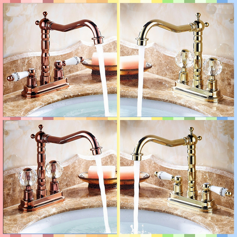 ФОТО Luxury Deck Mounted Solid Brass Swivel Bathroom Sink Faucet Golden/Rose Golden Tap Dual Handles