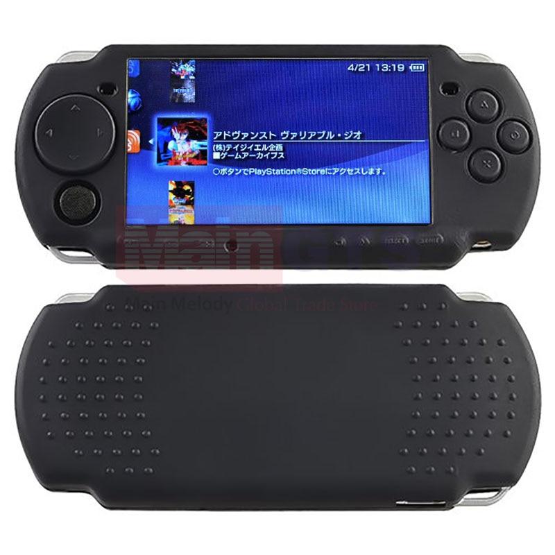 Черен мек силиконов каучук кожа случай покритие за PSP 2000 3000 контролери за игра мек гел защитен случай покритие, безплатна доставка