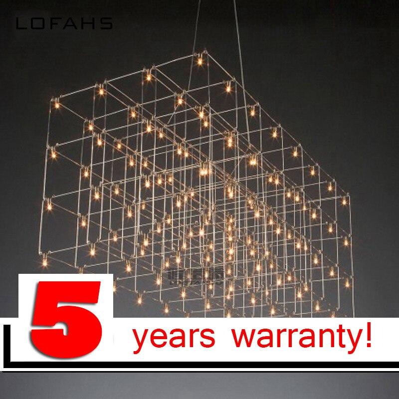 LOFAHS moderne LED lustre luxe grande combinaison cube pour salon LED-lampe suspendus luminaires matrice lustres