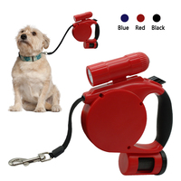 16ft Retractable Dog Leash With Built In Waste Bags LED Light Flashlight For Small Medium Large