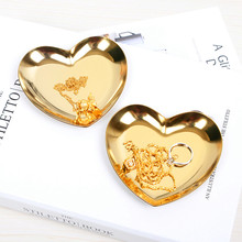 MRZOOT Nordic Style Jewelry Plate Heart Shaped Tray Storage Gold Ins Home Decoration