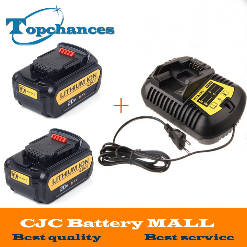 High Quality 2X 20V 4000mAh Power Tools <font><b>Batteries</b></font> Replacement Cordless for <font><b>Dewalt</b></font> DCB181 DCB182 DCD780 DCD785 DCD795+One <font><b>Charger</b></font>