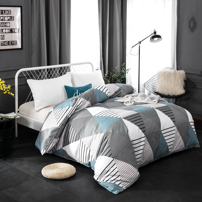 Modern Brife Style Cotton Duvet Cover Twin Full Queen King Size Comforter Cover with Zipper 1 Piece Single Double Quilt Cover ...