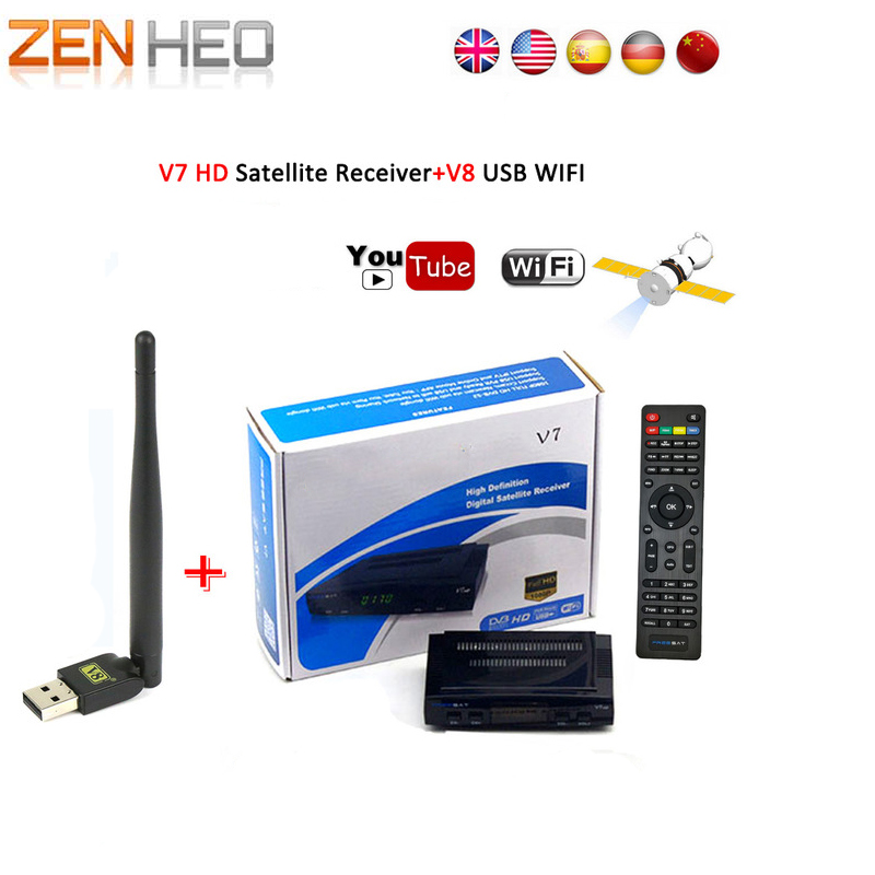 Satellitenfernsehen-empfänger decoder V7 HD Rezeptor Satellite Receiver Volle 1080 P HD + USB WiFi DVB-S2 HD Unterstützung youtube Powervu