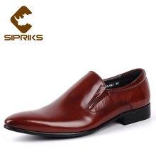 fe238d1c9 SIPRIKS marca de luxo mens deslizamento em sapatas de vestido toe pointy  sapatos mocassins para homens