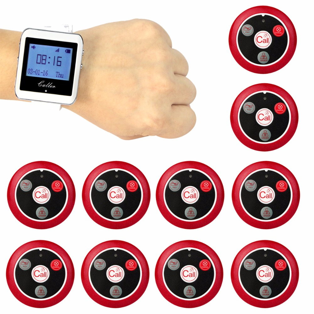 TIVDIO Wireless Waiter Calling System For Restaurant Service Pager System Guest Pager 1 Watch Receiver + 10 Call Button F3288B service call bell pager system 4pcs of wrist watch receiver and 20pcs table buzzer button with single key