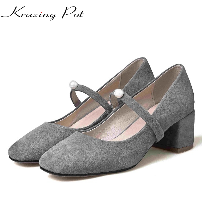 2017 Krazing Pot shoes women fashion med heels genuine leather pearl pumps slip on lady shoes square toe nude work pumps L3f2 krazing pot fashion brand shoes genuine leather slip on european style square toe preppy style tassel med heels women pumps l12