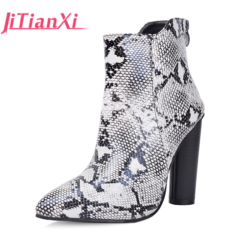 JITIANXI Fashion stretch Fabric ankle boots pointed toe women thin heel booties Super High Heels Women Spring Boots Women shoes fashion kardashian ankle elastic sock boots chunky high heels stretch women autumn sexy booties pointed toe women pumps botas