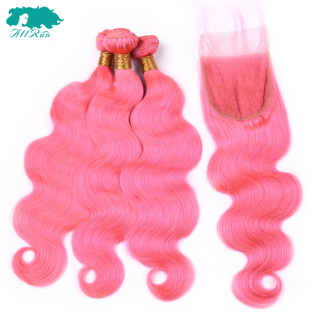 Allrun Pure Pink Human Hair 3 Bundles With Closure Body Wave Brazilian Hair Bundles With Lace Closure Non-Remy Hair Extension