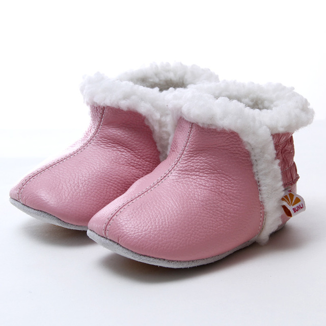 Leather Baby Boots for Girl Boy Pink Toddler Booties Winter Snow Boots Baby Girl Boots Rabbit Hair Warm Baby Shoes First Walkers