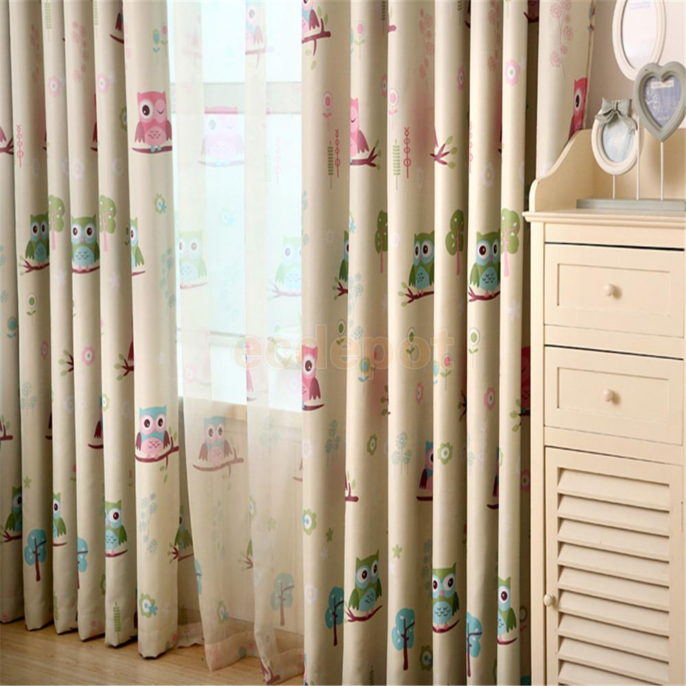 Printed curtains living room - 100x250cm Owl Pattern Curtains Valance Living Room Bedroom Decor Punch Green China