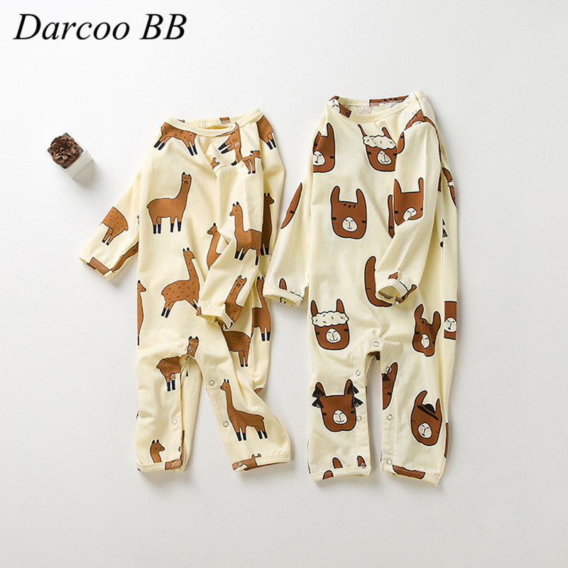 0-3 Years Baby Boys Cotton Rompers Girls Romper Infant long Sleeve Jumpsuit Alpaca Animal Print New Toddlers Autumn Clothes mother nest 3sets lot wholesale autumn toddle girl long sleeve baby clothing one piece boys baby pajamas infant clothes rompers