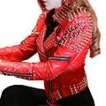 Красный Кожаный Пиджак Женщин Панк Заклепки Обитая Мотоциклов Кожа Шипами Кожаные Куртки Весте Ан Cuir Femme Cuero Mujer Cazadora