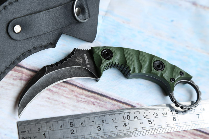 JUFULE OEM St smf karambit D2 Sheath leather G10 handle utility outdoor survival camping hunting kitchen Fixed blade knife tool