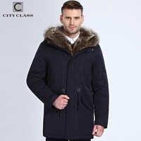 Chaqueta de piel de invierno de clase urbana para hombre chaqueta de piel de mapache desmontable Parka larga para hombre chaquetas y abrigos casuales de algodón de tela de Camel lana 17843