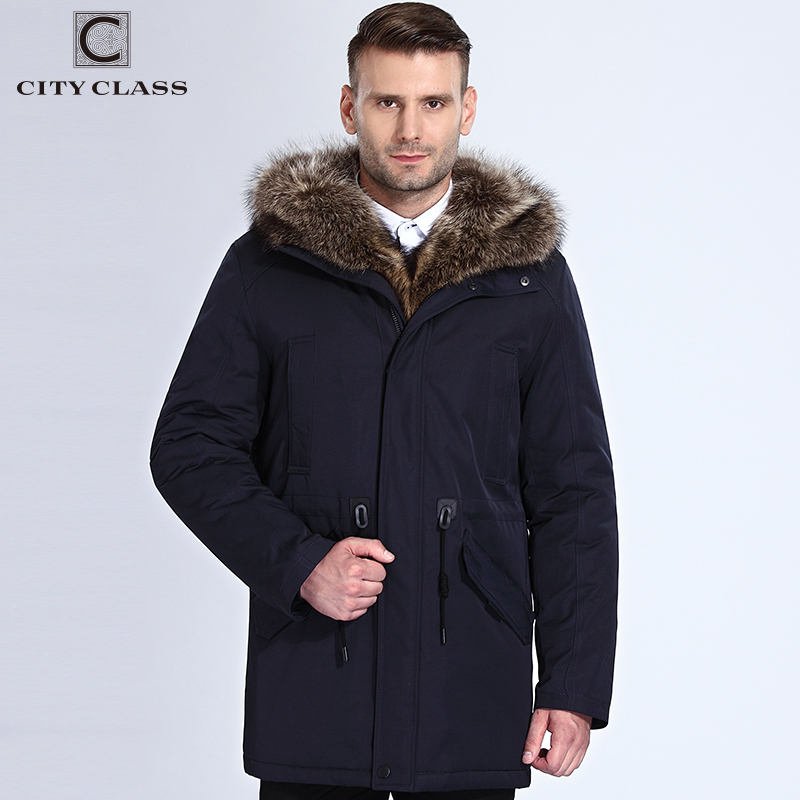 City Class зимняя куртка мужская меховая куртка съемный енота капюшон Длинная парка очень теплая повседневные куртки и Пальто и пуховики хлопок...