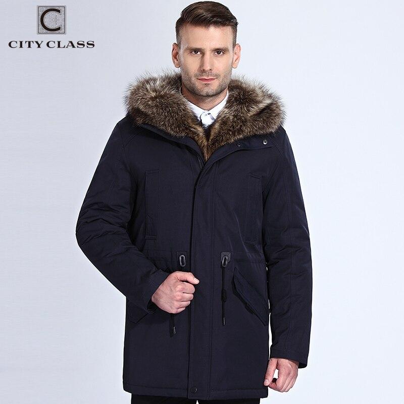 685e099d7c049 Ville classe hiver fourrure veste hommes amovible raton laveur capuche  longue Parka hommes vestes décontractée et