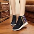 New Spring fashion exquisite vintga black Casual Pumps shoes women wedge heels walking shoes for women canvas shoes